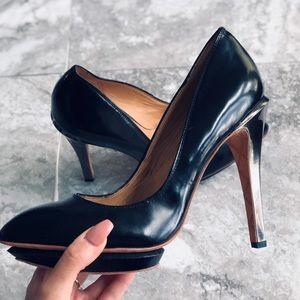 L.A.M.B. Black Stiletto Platform Pumps Heels